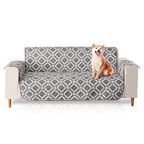 PETCUTE Fundas de Sofa Impermeables Cubre Sofas 3 plazas Protector Sofa Impermeable Funda para sofá para Mascotas Gris