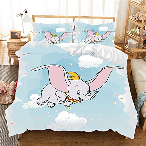 Duvet Cover Set – Dumbo Duvet Cover and Pillow Case, Cartoon Pattern, 3D Digital Print, Microfibre, Children's Bedding Pink, Blue, Single Bed (I, 140 x 210 cm)