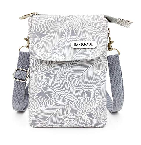 Roomy Cell Phone Purse Wallet Canvas Small Crossbody Purse Bags with Shoulder Strap For Women teen girlsl (A-gray leaves)