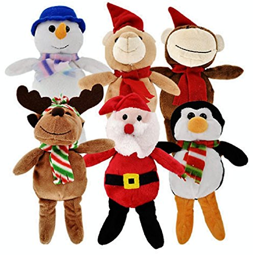 Christmas Stuffed Plush Animals, Santa and Snowman Toys, 6-ct Set by Christmas House