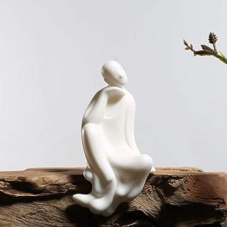 KJYHXX White Ceramic Little Monk Furniture Handmade Home Deco Creative Gift (Tranquillity)