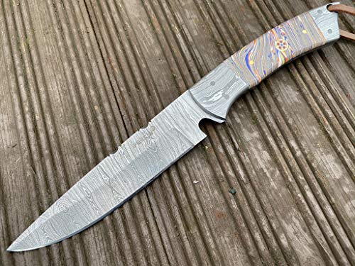 Perkin - 1975 | Damascus Steel Knife | 10 inches Hunting Knife with Sheath Full Tang Fixed Blade Hunting Knife