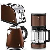 wunderschöne Optik in Metallic-Gold-Braun zu Edelstahl Komponenten Wasserkocher 1,7l Inhalt 10 Tassen (à 125 ml) Kaffeemaschine mit Aromaglaskanne Toaster mit Bagel-Funktion zum einseitigen, energiesparenden Toasten 3Teile = 1Preis