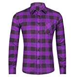 CATERTO Men's Button Down Long Sleeve Plaid Flannel Shirt (M/Tag XL/41, Purple)