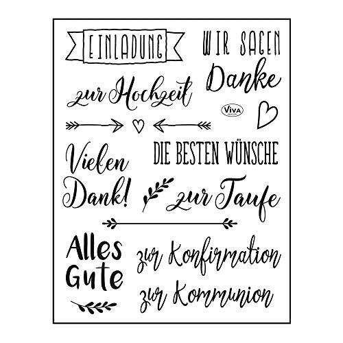 Viva Decor®️ Clear-Stamps (Die besten Wünsche) Silikon Stempel - Prägung Stempel - DIY Dekoration stanzen - Stempel Silikon - DIY Stamp - Stempel Prägung - Made in Germany