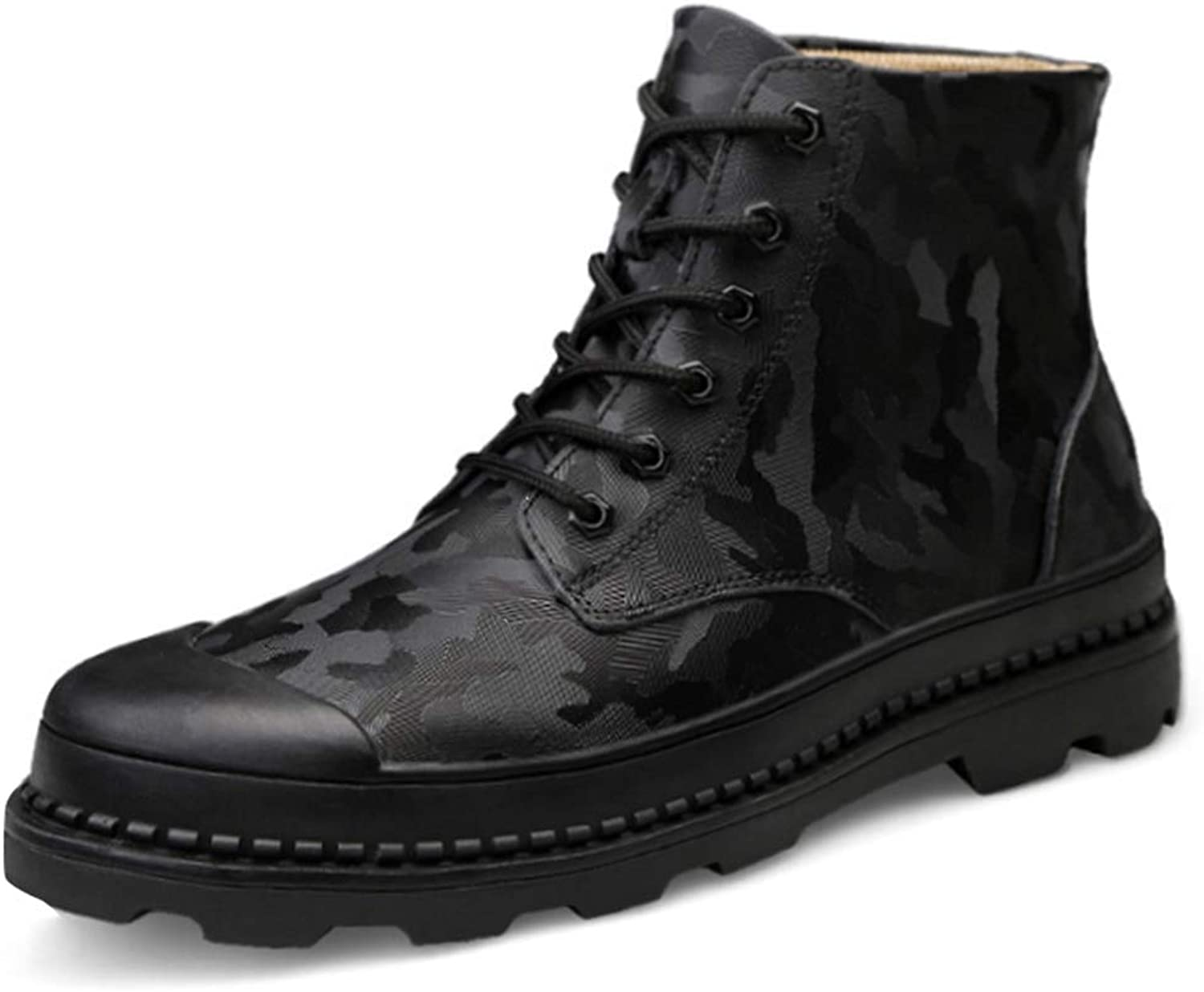 High-Cut Tooling Men's Leather New Non-Slip Casual shoes Men's Camouflage Outdoor shoes (color   Black, Size   10 US)