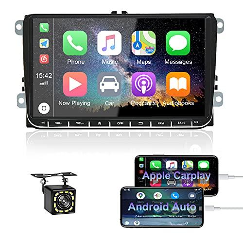 Android 10 Autoradio Bluetooth Coche CAMECHO para VW GPS 9 Pulgadas Radio Coche con Carplay / Android Auto WiFi FM Estéreo de Coche para Touran Tiguan Seat Golf Altea + Doble USB + Cámara Trasera
