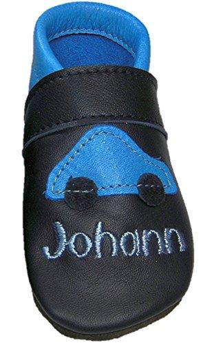 Mopu's® Krabbelschuhe - Lederpuschen in blau mit Auto und individueller Bestickung - Wunschnamen - Kosewort