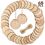CEWOR Natural Wood Slices 68pcs 2.4-2.8 Inches Craft Wood kit Unfinished Predrilled with Hole Wooden Circles for Christmas Ornaments DIY Crafts Arts Rustic Wedding Decoration