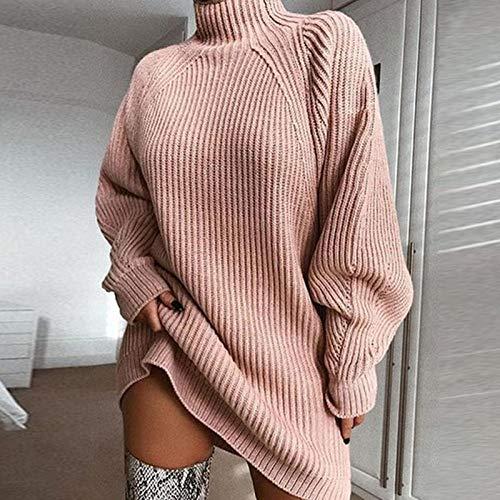 Invierno otoño Tejido de Manga Larga Mujer suéter Vestido de Cuello Alto Suelto Cuello Alto Casual Rosa Vestidos de Mujer-Rosado_S