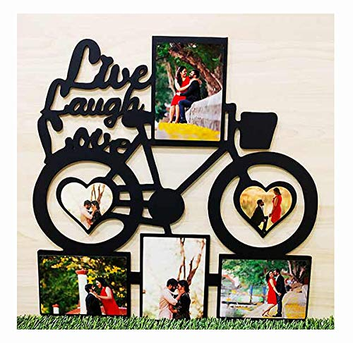 Celkase, Customized Personalized Cycle Shape Live, Laugh,Love Frame 6 Pic for Anniversary, Birthday Gift for Girlfriend, Boyfriend, Husband, Wife, Valentine Day Gift (18x18 inch)