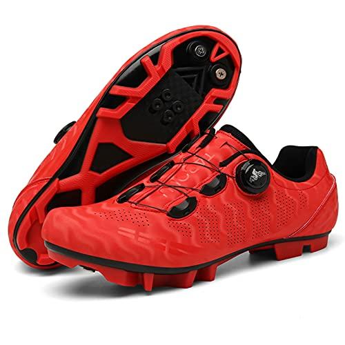 Zapatos De Ciclismo, Zapatos De Ciclismo De Montaña MTB con Tacos, Compatibles con SPD Y Pedal De Bloqueo Delta para Hombres Y Mujeres,MTB Red,41