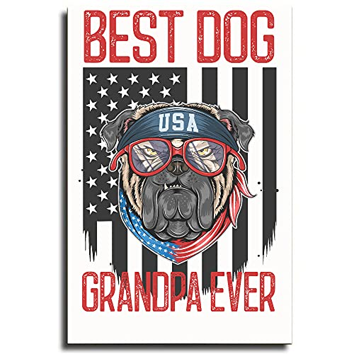 Osborna Arrt American Flag Best Dog Grandpa Ever French Bulldogs Canvas. Frame