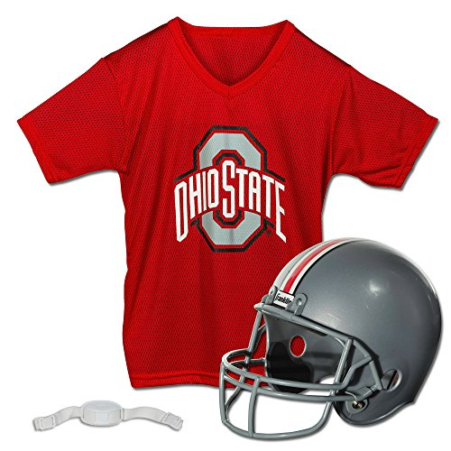 Franklin Sports Ohio State Buckeyes Kids College Football Uniform Set - NCAA Youth Football Uniform Costume - Helmet, Jersey, Chinstrap Set - Youth M