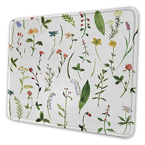 Aquarell Blume Office Mouse Pad Verschiedene Arten von Blumen mit Kräutern Unkraut Pflanzen und Erdelementen Langzeit Office Mouse Pad Multicolor
