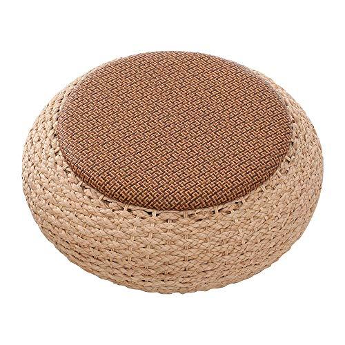JISHIYU Cojín de suelo tejido de paja natural para exteriores, cojín redondo de tatami sentado, cojín de futón, cojín de meditación grande hecho a mano transpirable (tamaño 60 x 19 cm)