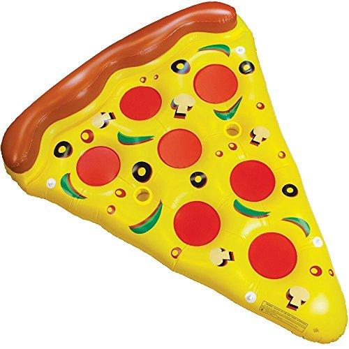 Tante Tina - Tranche de Pizza Géant Gonflable, 160 x 180 cm - Matelas à air - Jouet de Piscine - Flotte - Jaune/Rose/Marron