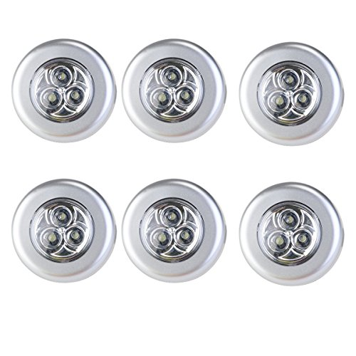 Heaven Tvcz Lot of 6 3-LED Under Cabinet Tap Touch Stick Push On Night Light Lamps WHT Light Ceiling Fans Lamps