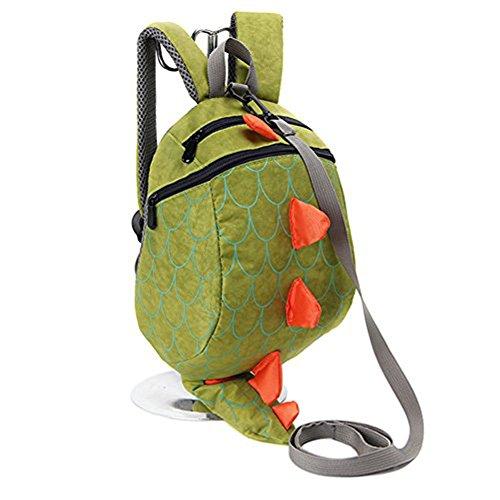 Anti Verlorene Kinder Tasche Kinder Nette Rucksack Cartoon Schultasche mit Leine (Grün)