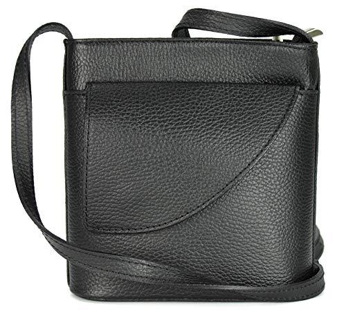 Belli ital. Ledertasche Damen Umhängetasche Handtasche Schultertasche mit zusätzlichem Klappfach in schwarz - 18,5x18,5x7 cm (B x H x T)