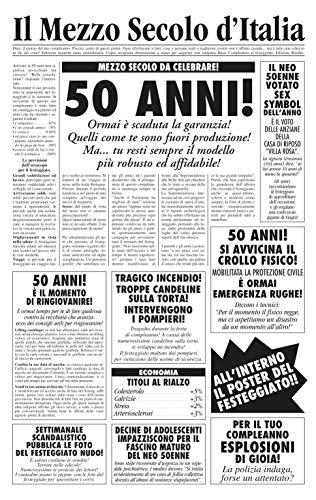 Biglietto auguri giornale compleanno 50 anni amico