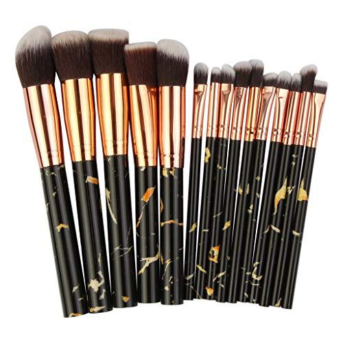 15Pcs Pinceaux de Maquillage Ensemble Outil Multifonctionnel Pinceaux de Maquillage Fondation de Fard À Paupières Correcteur,Noir