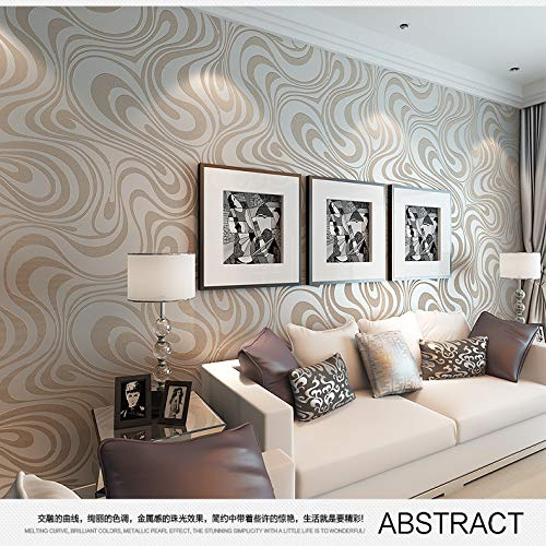 Home Decal Sticker Badkamer Panel Kind Hoogte Abstracte lijn Flocking Sprinkled Goud Non-Woven Wallpaper 70 * 840cm 2
