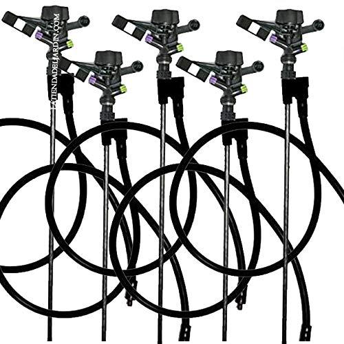 """Suinga. 5 x ASPERSOR AGRICOLA Completo 1/2"""" Circular. Alcance 10,5 MTS. Caudal 9,6 litros/Minuto. Incluye Varilla metálica 8mm 1,2 Metros de Altura"""