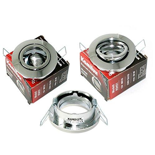 3er Set Einbaustrahler/Spot Bajo in Edelstahl-gebürstet, Halogen oder LED geeignet, inkl. GU10 Fassung 230V, ohne Leuchtmittel