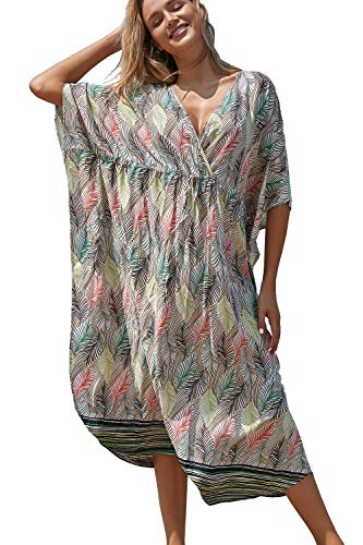 LikeJump Bohemia Vestido de Playa Maxi Kaftan Kimono Pareos Cover Ups para Mujer