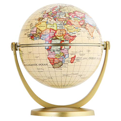 Exerz Mini Antique Globe 4-inch / 10 cm - Swivels in All Directions Educational, Decorative, Unique, Small World, Desktop, Vintage (Mini Antique Globe)