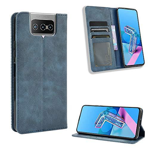 Lederhülle für Asus Zenfone 7 Pro ZS671KS Hülle, Flip Hülle Schutzhülle Handy mit Kartenfach Stand & Magnet Funktion als Brieftasche, Tasche Cover Etui Handyhülle für Zenfone 7 Pro ZS671KS, Blau