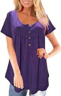 WSPLYSPJY Tunics for Women,Fashion Summer Short Sleeve Tunic Tops Henley Shirts
