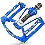 Fahrrad Pedalen Mountainbike Rennrad Fahrradpedale, pedale mountainbike aluminium mit 3 Abgedichtete Lagerund rutschfeste breite Plattform für E-Bike, Mtb, Trekking, Rennrad, Rennradpedale (Blau)
