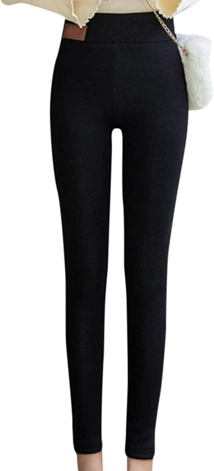 Valink Super Thick Cashmere Wool Leggings,Winter High Waist Leggings Thermal Pants,Windproof and Cold Lasting Warmth Warm Women Elastic Tight Leggings Pants