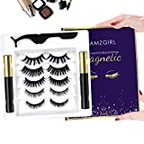 Magnetic Eyelashes with Eyeliner Kit, 3D Magnetic Eyelashes Kit with 5 Pairs Reusable False Eyelashes Natural Look, Tweezers and Eyeliner, Easy to Wear