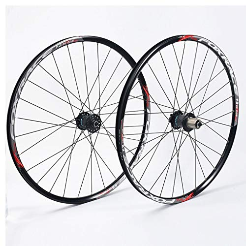 LSRRYD Cycling Wheels MTB Bike Wheel Set 26' 27.5' Double Wall Alloy Rim Disc Brake 8 9 10 11 Speed Carbon Hub F2 R4 Palin Quick Release 1670g (Color : A, Size : 27.5inch)
