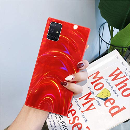 Herbests Kompatibel mit Samsung Galaxy A51 Hülle Glitzer Glänzend Kristall Aurora Bunte Weich Silikon Handyhülle Ultra dünn Schutzhülle TPU Bumper Handytasche Crystal Case Cover,Rot