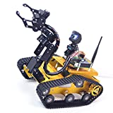 Upgraded WiFi Smart Robot Car Kit for Raspberry Pi, Gold Robot Tank Chassis, 2DOF Hd Camera, 4DOF Robot Arm, Remote Control Vehicle Toy Controlled by Android/iOS App PC (with Raspberry Pi 4B(4GB))