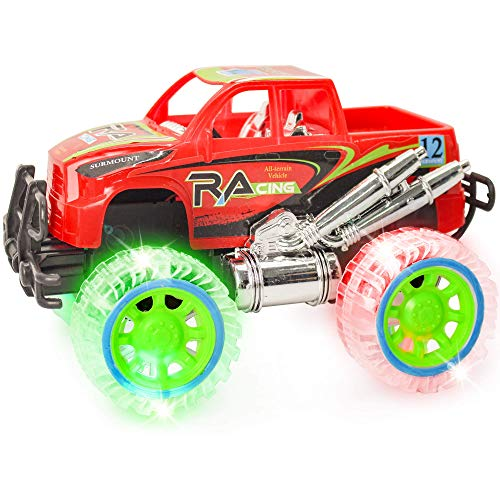 ArtCreativity Light-Up Red Monster Truck with Sounds, 9 Inch Monster Truck with Flashing Wheels and Friction Motor, Push n Go Toy Car, Best Birthday Gift for Boys and Girls Ages 3+
