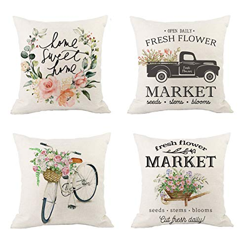 XIUYANG Spring Throw Pillow Covers,Farmhouse Floral Throw Pillow Covers,Spring Pillow Covers,Spring Check Pillowcase18x18 Set of 4 Vintage Truck Bicycle Decorative Throw Pillows Cases for Home Couch