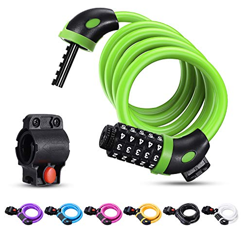 Bike Lock Cable,Famistar 4 Feet High Security 5 Digit Resettable Combination Coiling Bike Chain Lock with Mounting Bracket,Bicycle Cable Lock for Cycling Outdoors, 1.25mx12mm (Green)