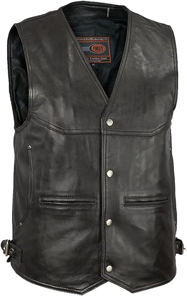 Men's Western Style Lambskin Real Leather Black Color Vest Genuine Leather Vest.
