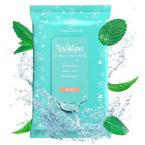 VeeFresh VeeWipes - Sensitive Feminine Hygiene Wipes - pH Balanced, Alcohol Free & Hypoallergenic...