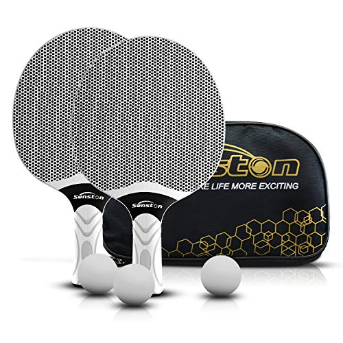 Senston Tischtennisschläger Set, professionelle Tischtennisschläger mit 3 Bällen, Ping Pong Paddel Set aus Gummi (Grau)