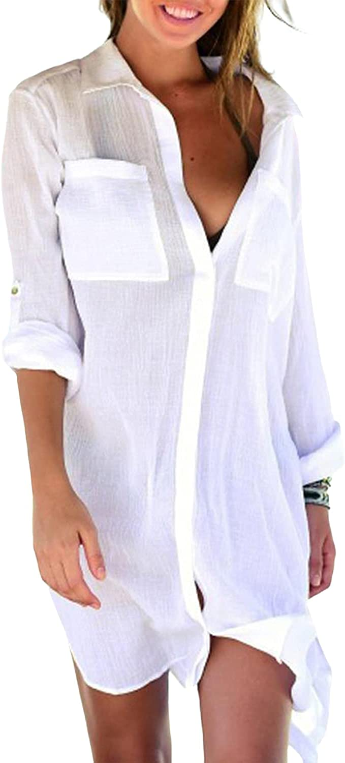 Beachsissi Solid Color Women Roll Up Sleeve Swimsuit Cover Up