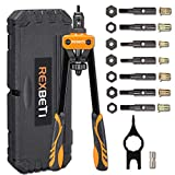 REXBETI 14' Rivet Nut Tool, Professional Rivet Setter Kit with 7 Metric & SAE Mandrels and 60pcs Rivnuts, Labor-Saving Design, Extra 1/4-20 mandrel with Rugged Carrying Case