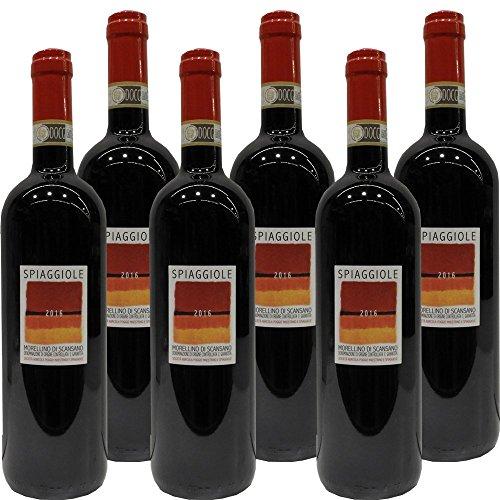 Morellino di Scansano Docg | Spiaggiole | Confezione da 6 Bottiglie da 75 Cl | I Vino Rosso Toscana | Idea Regalo