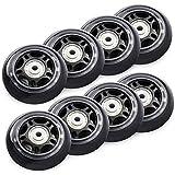 TOBWOLF Lot de 8 roues de rechange pour rollers en ligne avec roulements ABEC 7 70 mm 82 A Noir