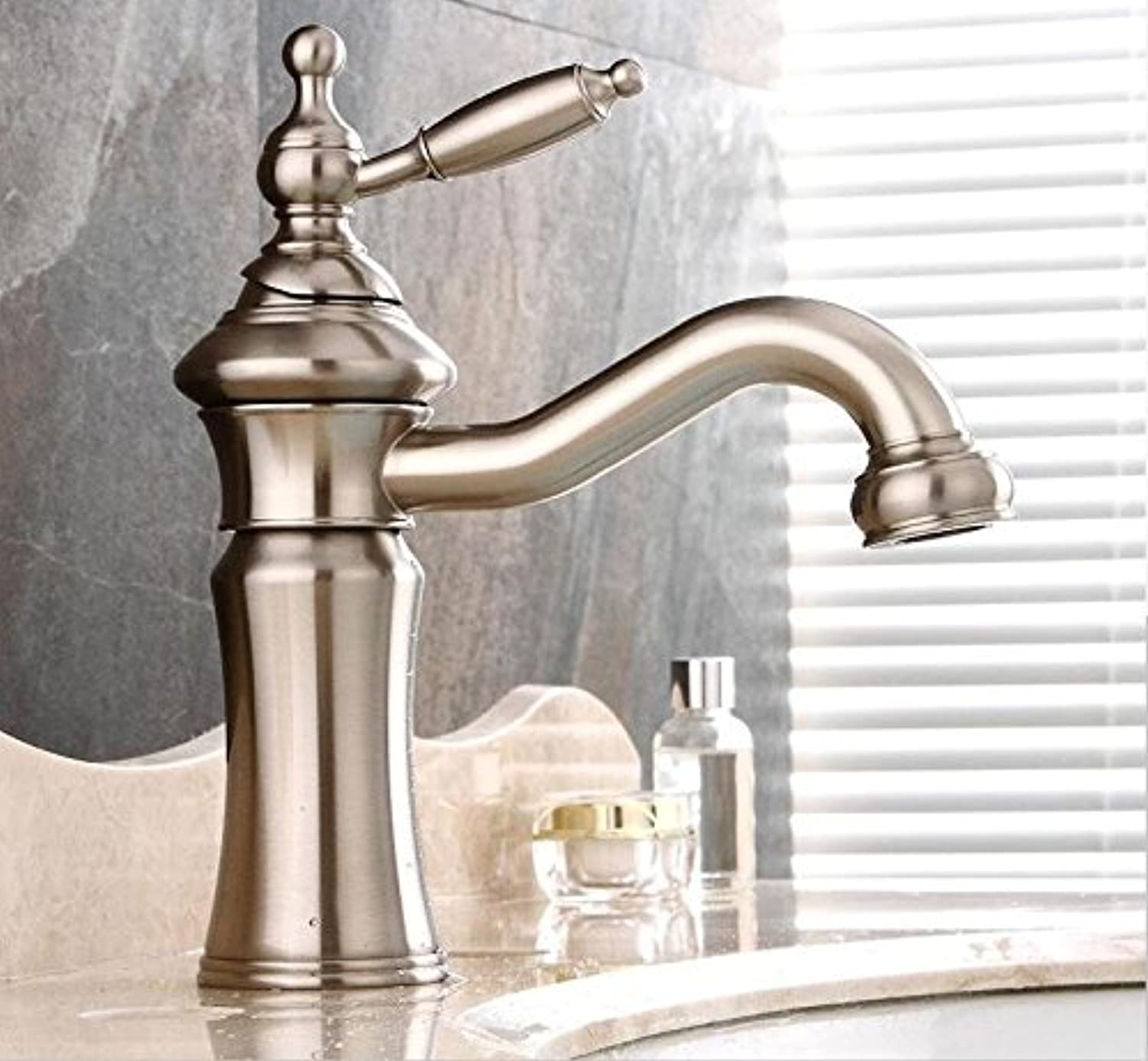 QUSLT golden Faucet, Cold And Hot European Faucet Full Copper Bath With High Basin Drawing Water Faucet Faucet